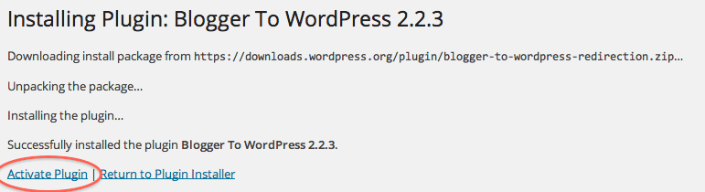 Activate Blogger To WordPress