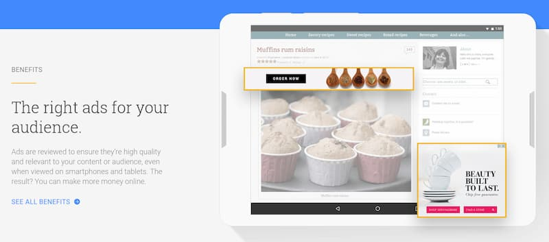 Adsense advertising to make money blogging