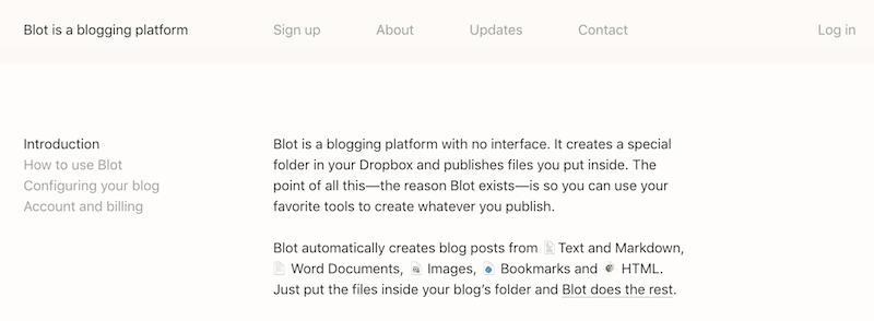 Blot blogging platform