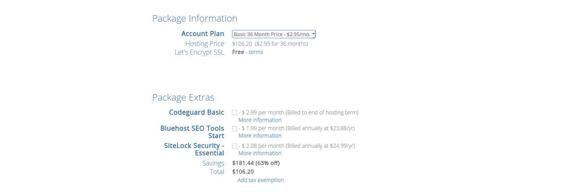 Select your account plan