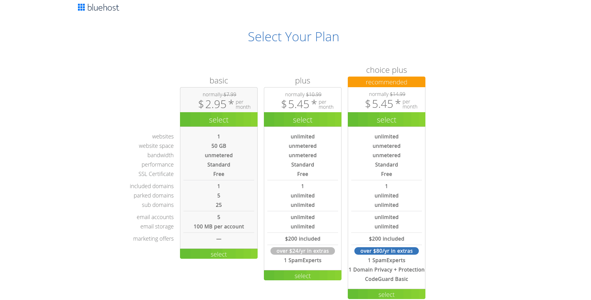 Select the hosting plan you prefer