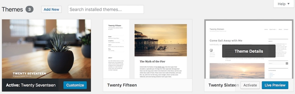 Default WordPress design themes