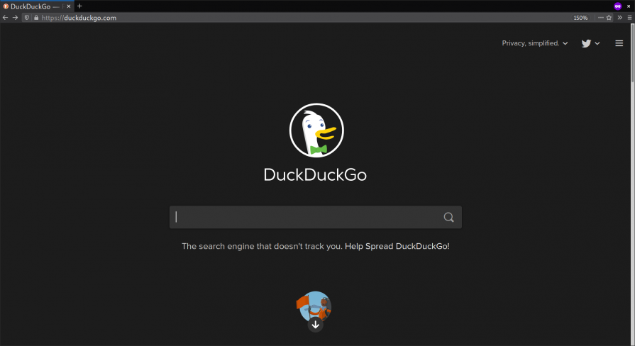 DuckDuckGo search engine front page