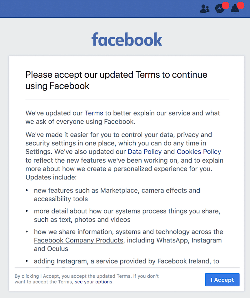Facebook GDPR dark pattern and their non-existent marketing ethics