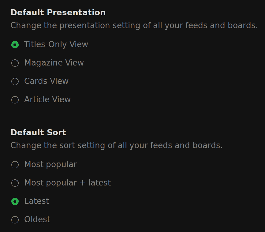 Some of the useful Feedly settings
