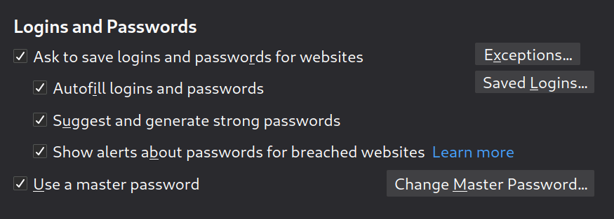Firefox logins and passwords options in Preferences