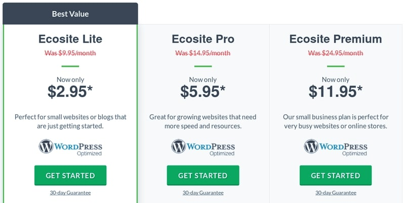 Ecosite WordPress hosting plans from GreenGeeks