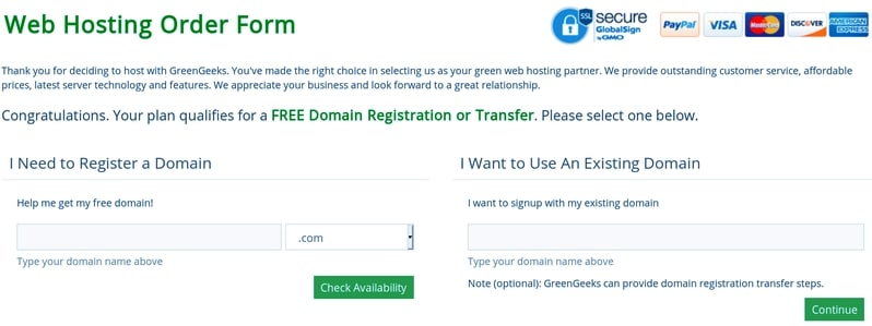 Register your chose domain name