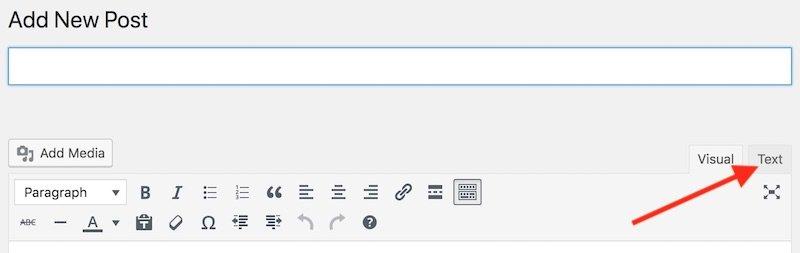 WordPress HTML text editor