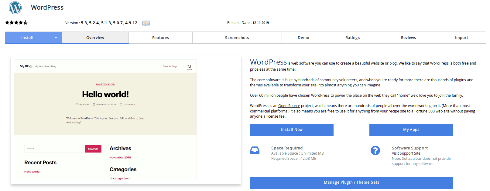 Install WordPress now