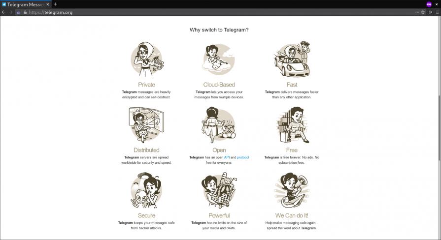 Telegram messenger app home page