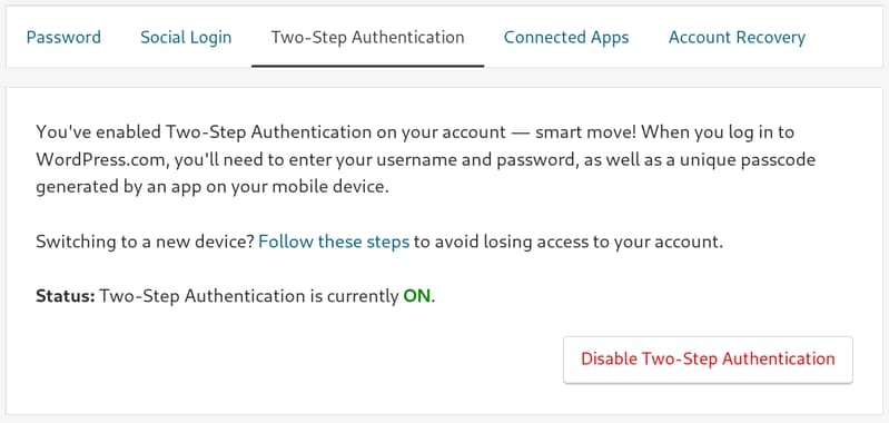 Two step authentication for WordPress